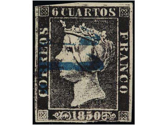Lot 156 - SPAIN: ISABEL II. 1850. 6 CUARTOS BLACK  -  Filatelia Llach s.l. Mail Auction #156